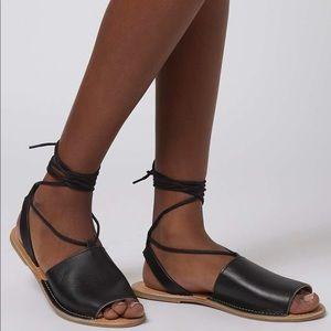 Topshop Black Lace Up Sandals